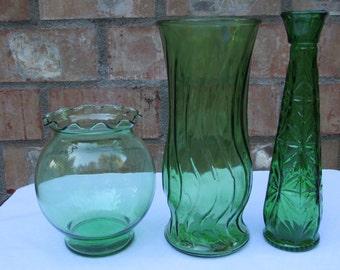 Forest/Emerald Green Glass Vases,  Set of 3