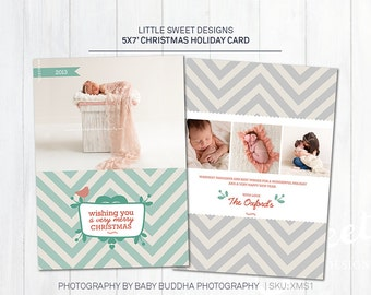 Christmas / Holiday Card Photoshop Template for photographers (XMS1) - INSTANT DOWNLOAD