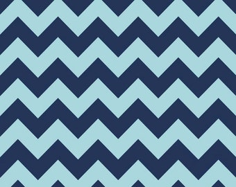 Navy Tone On Tone Medium Chevron 1 Yard Riley Blake Cotton Fabric