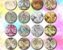 Digital collage Globe, mapp,maps round 1 inch instant download bottles caps, cabochon, supplies jewerlie, craft, circles
