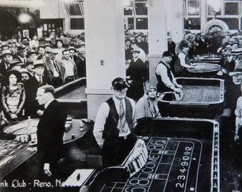 Vintage 1940's Bank Club Reno Nevada Souvenir Photo - Free Shipping
