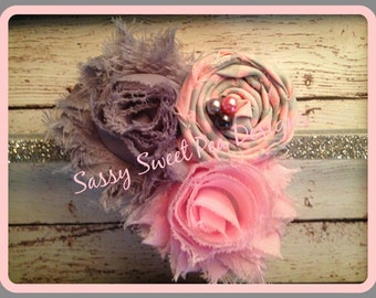 Shabby Chic Flowers and Rosettes on Chevron Headband.. Newborn, Baby, Girls Photo Prop Bow
