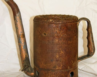 Vintage Oil Can Rusty Oiler Mechanic industrial Mid Century