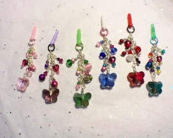 Choose your color-- Crystal Butterfly cell phone charm, dust plug charm, shower favor, gift