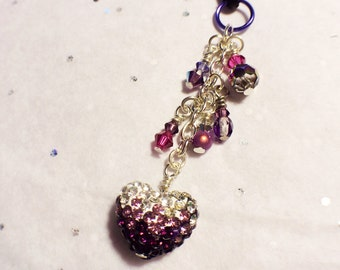 Shaded Pave Heart cell phone charm, dust plug charm, shower favor, bridal, gift