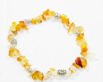 C-0333 - Beautiful Carnelian Gem Chip Gemstone Bracelet with Tibetan Silver Alloy Beads - Handmade