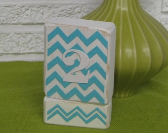 Wood Table Number - White with Turquoise Chevron Pattern