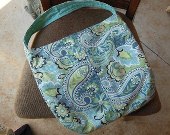 Blue Paisley Hobo Handbag Purse Tote