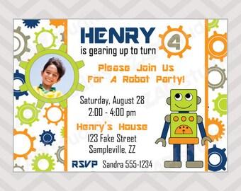 Robot Party - Printable Birthday Invitation