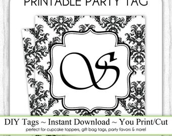 Instant Download - SQUARE Damask Party Tag, LETTER S, Monogram Party Tag, Black & White Monogram, DIY Cupcake Topper, You Print, You Cut