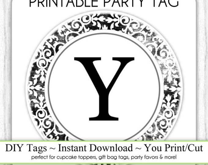 Instant Download - LETTER Y, Damask Party Tag, Monogram Party Tag, Black & White Monogram, DIY Cupcake Topper, You Print, You Cut