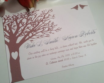 wedding invitations, Tree of Love wedding invitation suite