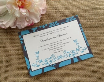 100 Wedding Invitations, invites Black and aqua wedding invites