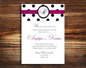 wedding invitations Black and white polka dots Fuscia pink  theme wedding invite