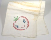 Vintage Dish Towel with Hand Embroidered Tomato Design