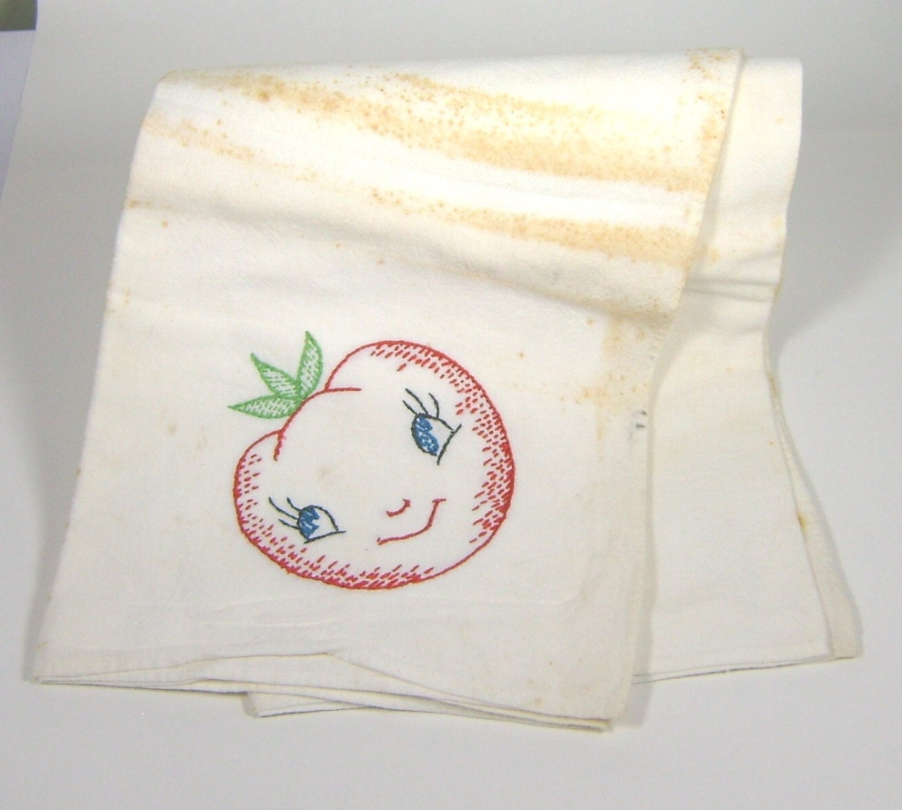 Vintage Towels: Vintage Dish Towel With Hand Embroidered Tomato Design