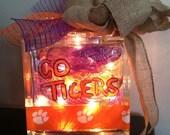 Clemson Tiger Lighted Glass Block