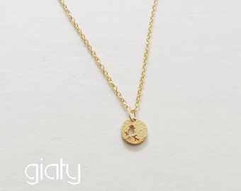 Gold Bird Coin Necklace - Small Necklace, Everyday Necklace, Simple Necklace, Bff Necklace, Thin Necklace, Charm Necklace