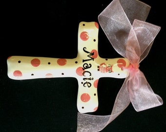 Hand painted Personalized Ceramic Cross - Easter, Baptism, Christening or Baby Shower or birthday gift