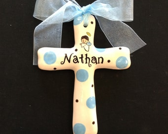 Custom Name Hand Painted Cross - Easter, Baptism, Christening or Baby Shower Gift