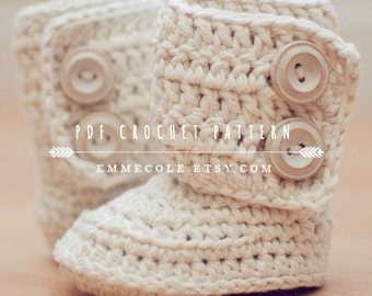 Crochet Pattern for Baby Boots, Crochet Boot Pattern, Booties Pattern, Baby Boots Pattern, INSTANT DOWNLOAD