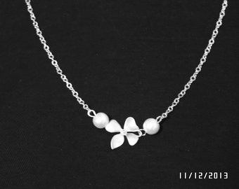Orchid necklace,orchid jewelry,silver flower necklace,orchid with pearl lariat necklace,bridesmaid gift,