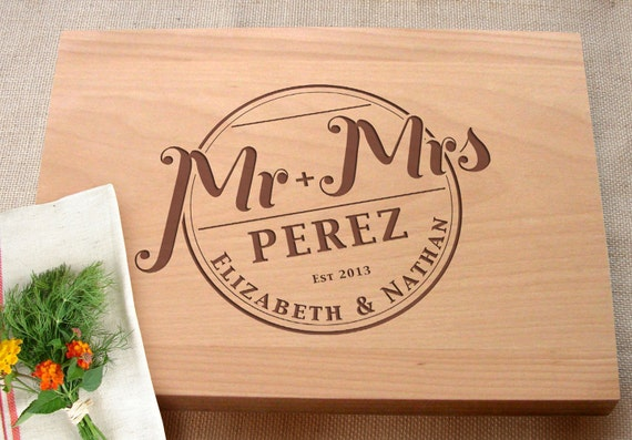 Personalized Wedding Gifts Kitchen : ... Wedding Present Personalized Kitchen Chopping Board Wedding Gifts For