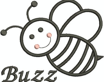 Bumble Bee Buzzing Machine Embroidery Applique, Bee Buzzing