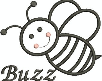 Bumble Bee Buzzing Machine Embroidery Design, Applique, Bee Buzzing