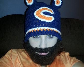 Chicago Bears Crocheted Bearded Hat