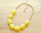 Yellow Statement Necklace, Big Yellow single strand necklace