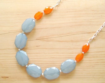 Teal and orange necklace, Teal and orange long statement necklace