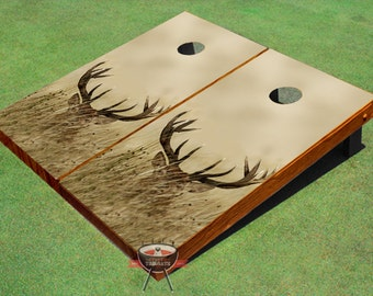 Custom Corn Hole Deer In Tall Grass Graphic With Plain RoseWood Sides Cornhole Boards