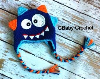 Crochet baby monster hat 0-5