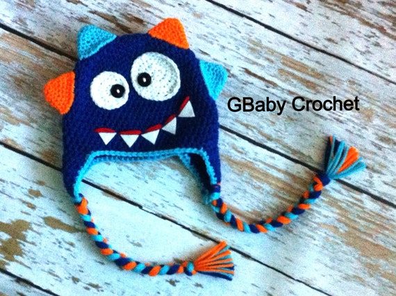 Crochet baby monster hat 0-5T
