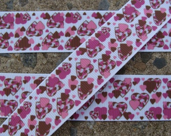 "3y Pink and Brown Hearts Printed Ribbon 1"" grosgrain ribbon Hair Bow Supplies Free Shipping"