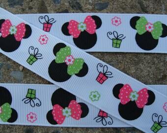"3y Birthday Ribbon Minnie Mouse Printed Ribbon 7/8"" 3 yards"