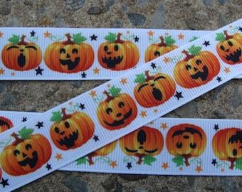 """3y Pumpkin Ribbon fall Ribbon Printed Ribbon 7/8"""" Hair Bow Ribbon Free Shipping"""
