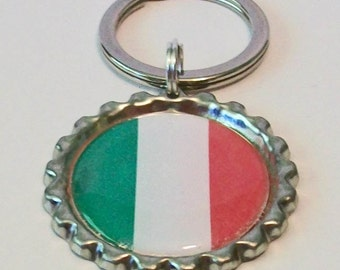 Unique Italy Italian Flag 189 Different Countries Available Metal Flattened Bottlecap Keychain