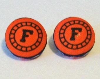 Fun Blue and Orange Florida Gators Inspired Fabric Button Pierced Earrings