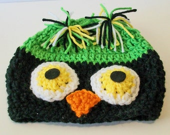 So Cute Bright Green and Black Owl Hand Crocheted Baby and Childrens Hat Great Photo Prop 5 Sizes Available