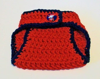 Red and Blue Ole Miss Inspired Hand Crocheted Baby Diaper Cover Picture Prop Great Gift