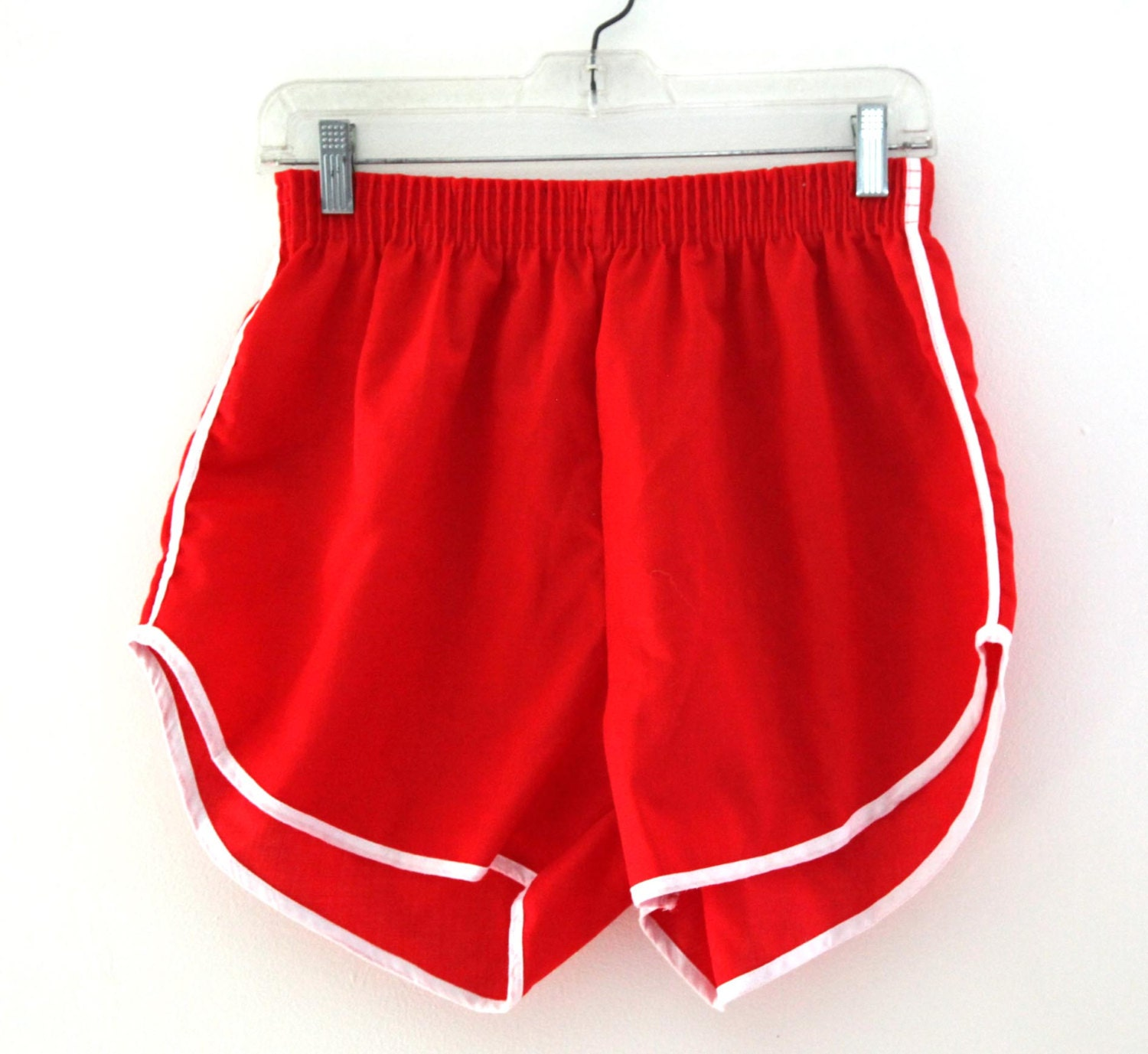 Vintage 80s Classic Gym Shorts Red White