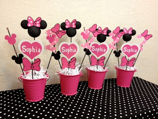 Minnie mouse birthday decorations set of centerpieces