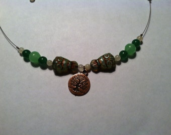 Green and Copper Owl Necklace