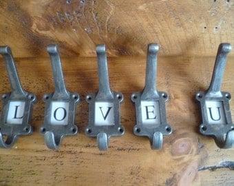 5 x Metal cast iron School wall coat  Hooks - 5 Alphabet ceramic Plates-industrial chic