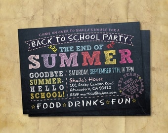 Back to School Party Doublesided Invitation /  End of Summer / Printable Chalkboard Party Invitation