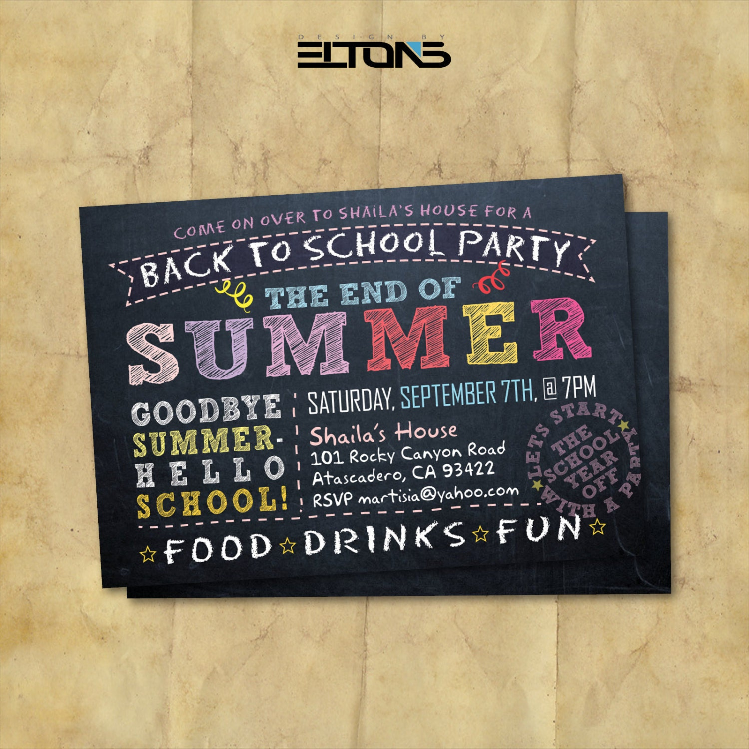 back to school party doublesided invitation end of summer. Black Bedroom Furniture Sets. Home Design Ideas