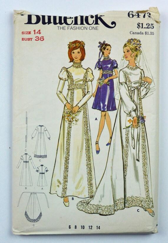 70s wedding dress pattern vintage empire waist juliet for Empire waist wedding dress patterns