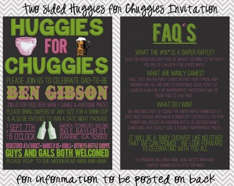 Two-Sided Huggies for Chuggies Diaper Shower Invitation
